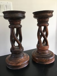two brown wooden candle holders Torrance, 90505
