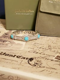 Judith Ripka sterling & turquoise hinged cuff bracelet
