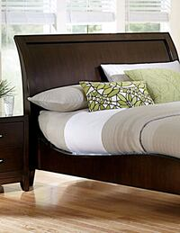 SLEIGH BED with Mattress and x2 night Stands!