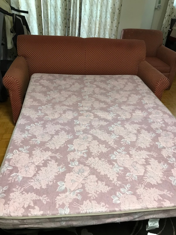 Two set sofa + portable bed in good condition 4