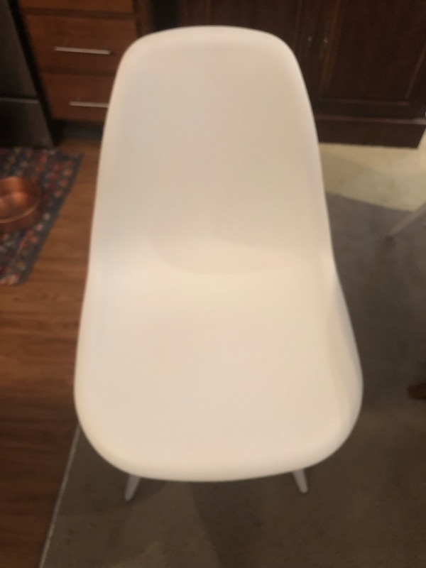 white and gray plastic chair