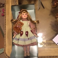 """Porcelain doll 16 1/2"""" tall new in box Jessup, 20794"""