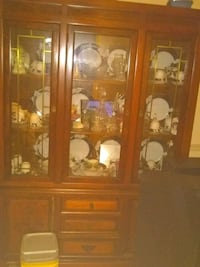 brown wooden framed glass display cabinet Pittsburgh, 15224