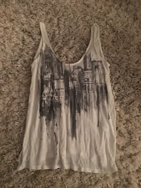 White and black building print tank top