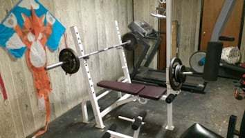 Weight bench Olympic bar weights are seperate
