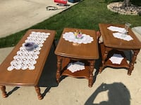 Rock maple two end tables and a coffee table in good to excellent condition