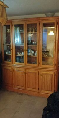 brown wooden framed glass china cabinet