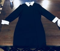 women's black long-sleeved dress
