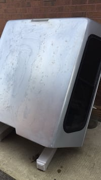 Silver-colored camper shell