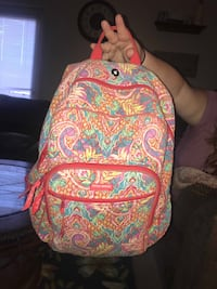 yellow, red, and green floral backpack 877 mi