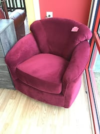 New Berry Red Exeter Swivel Barrel Chair