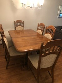 rectangular brown wooden table with 7 chairs dining set. Centreville, 20121