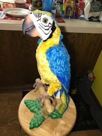 yellow and blue parrot plush toy