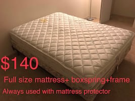 Full size mattress + box spring + frame