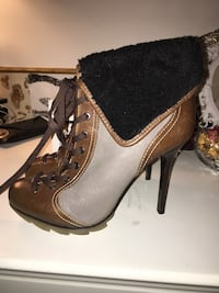brown-gray-and-black lace-up pump-heeled booties