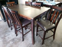 rectangular brown wooden table with four chairs dining set 2341 mi