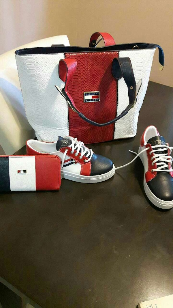 aba68849b5ab Used pair of red-white-and-black Tommy Hilfiger sneakers