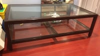 Black wooden and clear glass coffee table Markham, L3T 4Z8