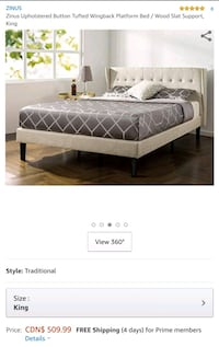 New Wingback Tufted King Bed Frame  Mississauga, L5M 3C5