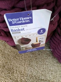 2 pack Better Homes and Garden chunky rope basket