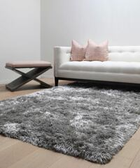 [BRAND NEW: IN WRAPPER] Luxe 8' by 10' Area Shag Rug ( Silver / Gray ) Washington, 20002
