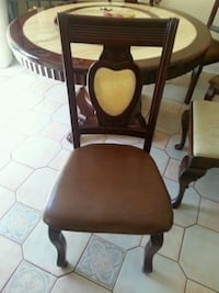 brown wooden framed brown leather padded chair Toronto, M3K 1X2