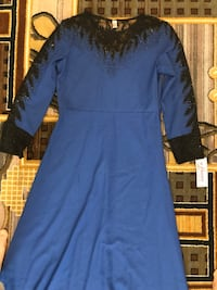 women's blue long-sleeved dress 46 km
