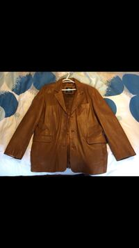 Brown leather zip-up jacket Delson, J5B 1G2
