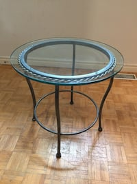 "Stunning Metal side tableDimensions: 24"" diameter / 23"" tall Toronto, M5P 2V5"