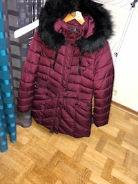 maroon button-up bobble parka jacka