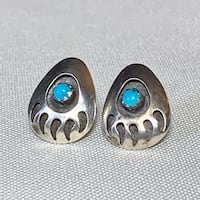Genuine Navajo Sterling Silver Turquoise Shadow Box Earrings