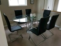 rectangular glass top table with four chairs dining set Calgary, T3J 4Y7
