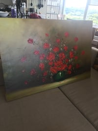black and red floral print wooden cabinet Toronto, M6S
