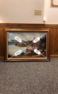Brown wooden framed painting of house Willoughby, 44094