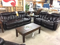 Franklin REAL Leather Reclining Sofa and Love Schertz, 78154