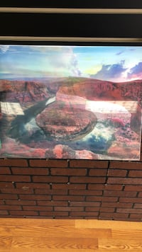 brown wooden framed painting of river Kenner, 70062