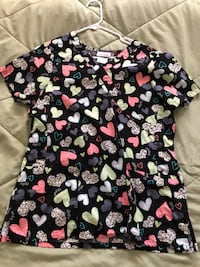 black, pink, and green heart-print scrub shirt Anaheim, 92804