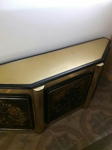 gold-colored and black side table