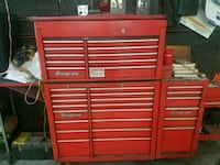 3 piece red and black snap on tool box