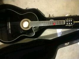 black and brown acoustic guitar in case
