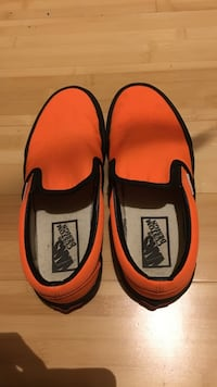 Orange-and-black vans slip-on shoes San Francisco, 94103