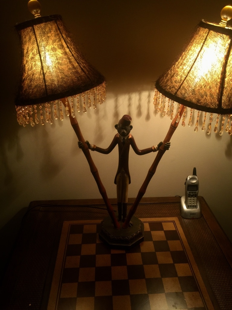 Monkey lamp with 2 shades