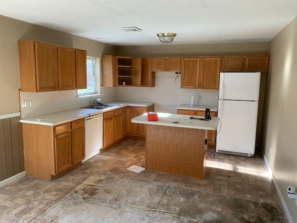 Used White And Brown Wooden Kitchen Cabinet For Sale In