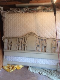 Beautiful french county wood king size bed with mattress set-nice