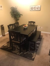 Rectangular brown wooden table with chairs dining set  Raleigh, 27610
