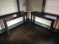 Pair of stained oak hall tables null