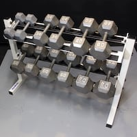 Hex Dumbbells with Rack