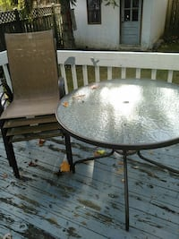 black steel framed frosted glass patio table Laval, H7R 5X3