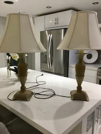 two brown wooden base white shade table lamps Ancaster, L9K 1R8