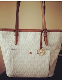 White and brown michael kors leather tote bag North Ogden, 84414